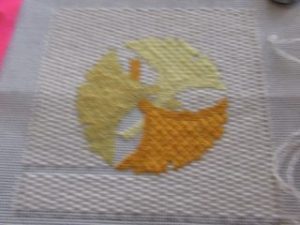 3 Ginko leaves needlepoint