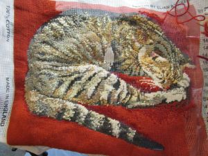 brown tabby cat needlepoint