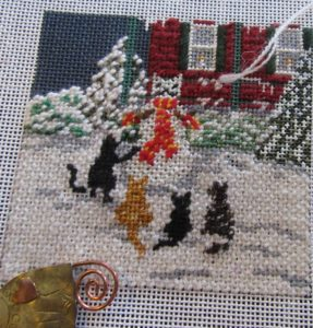 Needle Crossings Cat Snow Day needlepoint