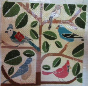 Birds in Tree mid-century modern needlepoint canvas