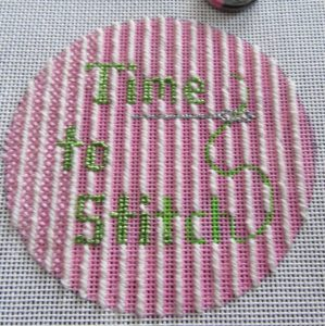 Cheryl Schaeffer time to stitch round canvas