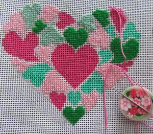 needlepoint heart of hearts. designer unknown