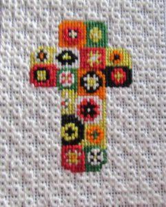 millefiori cross needlepoint finished