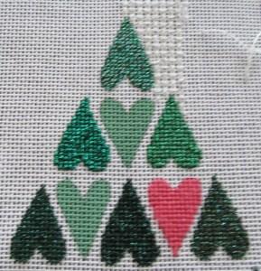 needlepoint tree of hearts showingmetallic finishes