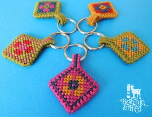 needlepoint flower key rings