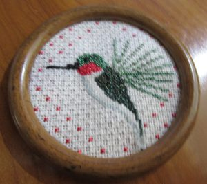 kathy schenkel needlepointhummingbird ornament