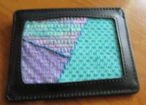 Planet Earth self-finishing credit card case for needlepoint