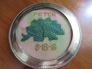 dinosaur needlepoint ornament