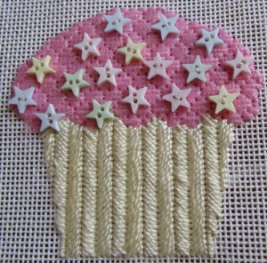 Pink with Buttons Needlepoint Cupcake