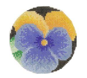 stitch painted needlepoint pansy
