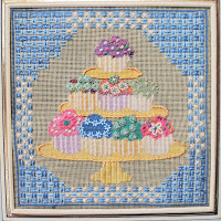 Anna Pearson cake stand needlepoints
