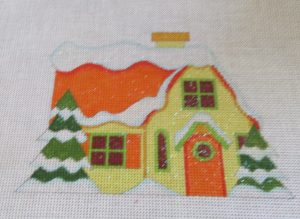 Raymond Crawford yellow glitter (putz) house needlepoint