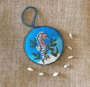 Amanda law ford seahorse round needlepoint with free stitch guide