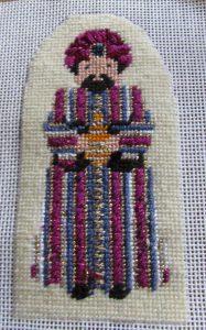 Petei needlepoint wiseman in striped robe