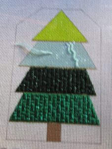 striped Christmas tree gift tag needlepoint