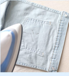 iron the canvas onto the overalls