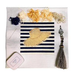 Pip & Roo straw hat needlepoint