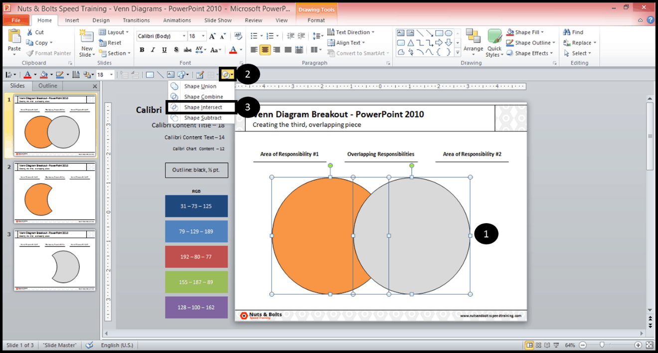 How To Find Creating The Middle Piece Of A Venn Diagram In Powerpoint 2010  Nuts &
