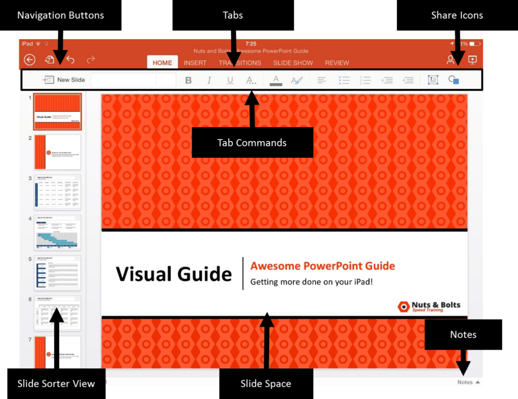 powerpoint for ipad a visual guide powerpoint for ipad navigation buttons overview