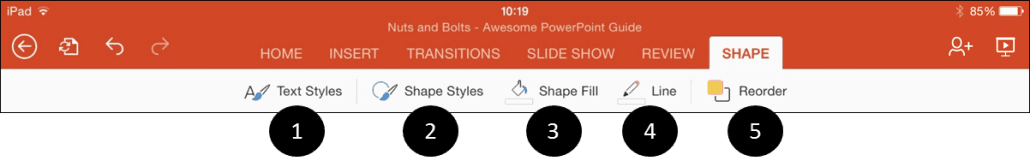 PowerPoint for iPad Shapes Tab incons