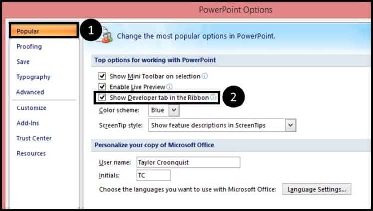 """Embed YouTube PowerPoint 2007 - Hard Method - Step #1B - Add the Developer Tab"""