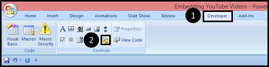 """Embed YouTube PowerPoint 2007 - Hard Method - Step #2A - Open the More Controls Dialog Box"""