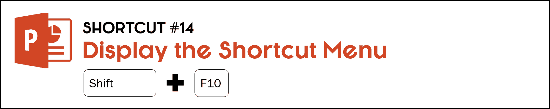 To display all of your shortcut options in slide show mode, hit the Shift key plus the F10 key. The same as right-clicking your screen with your mouse.