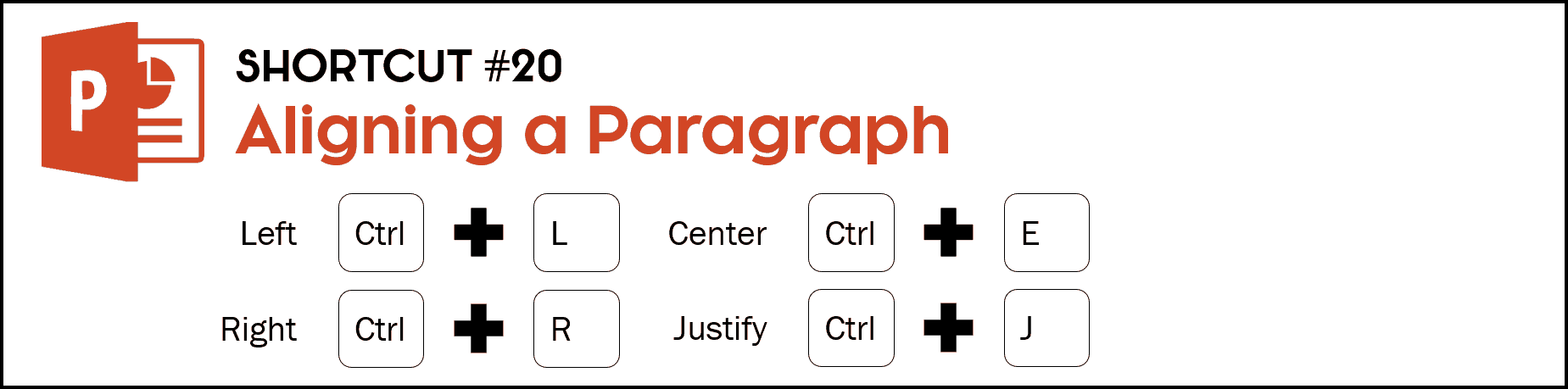 When you need to align text in a shape or text box, hit Control plus the L key or left alignment, Control plus the R key to right alignment, Control plus the E key to center align and Control plus the J key to for justify alignment