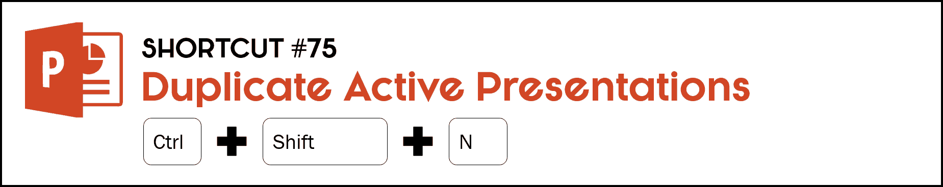 To duplicate an active presentation you are in, hit the Control plus Shift plus N keys on your keyboard