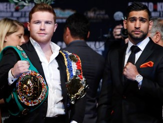 Canelo standing with Khan