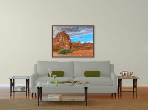 30x40 print size picture over the sofa