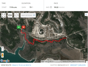 My hiking route on August 4 2014