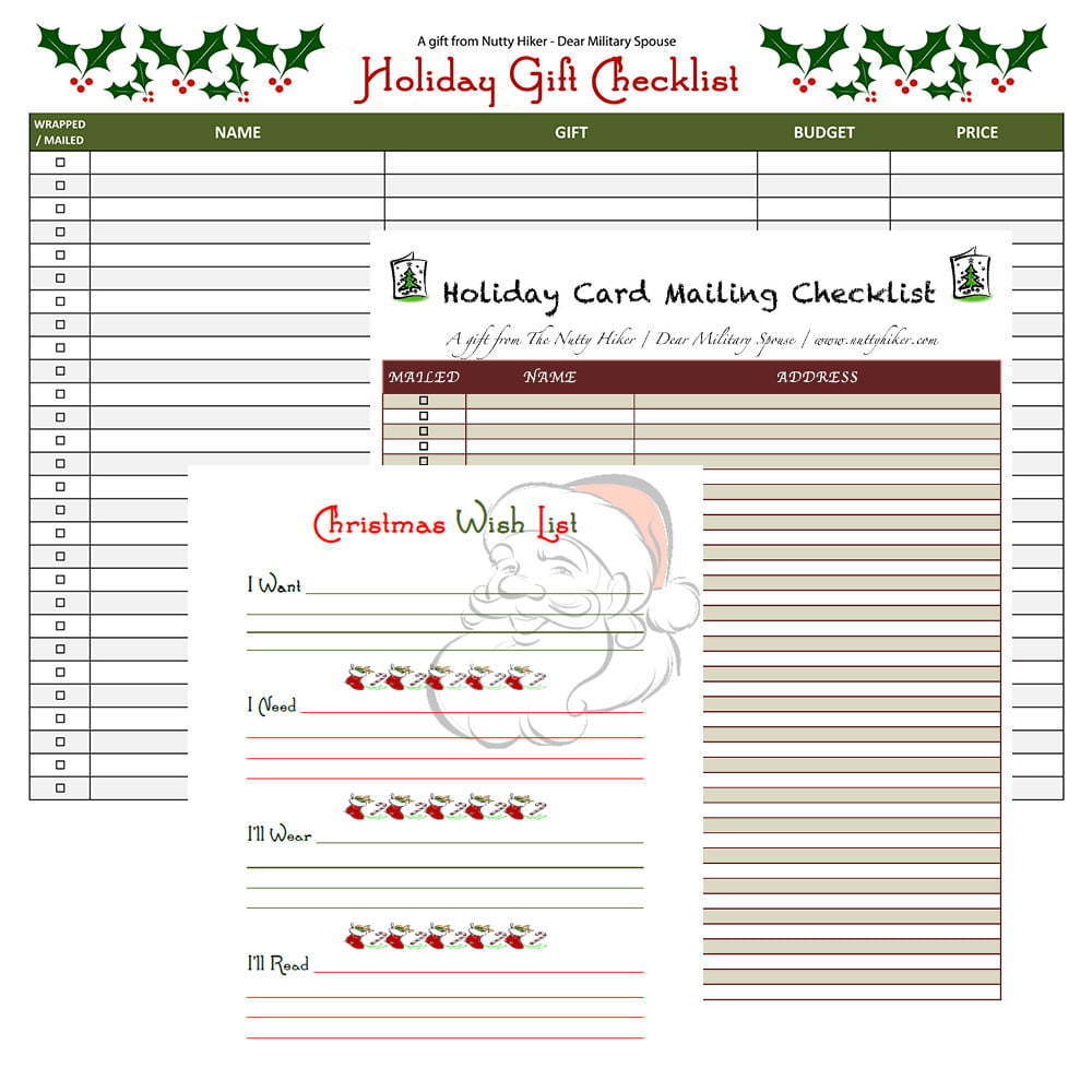 Holiday Checklist Download Kit - Free Holiday List Printable's