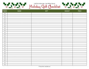 Free Holiday Gift Checklist