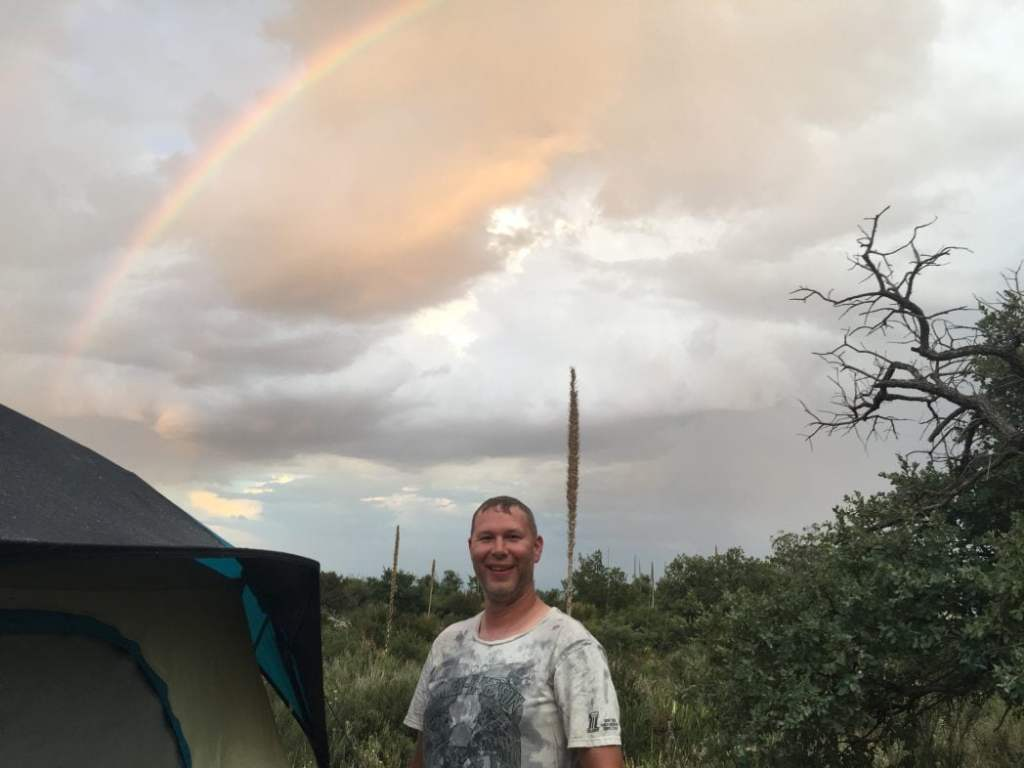 Rainbow appears at campsite after a rain shower at Guadalupe Mountains National Park