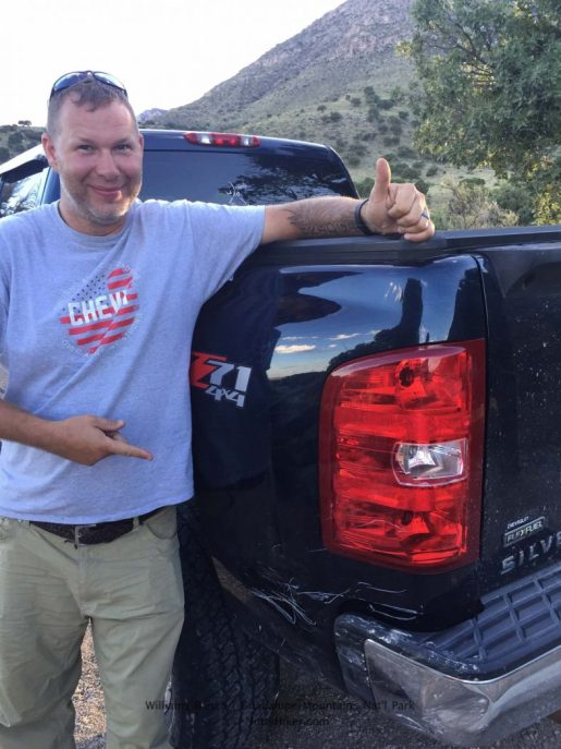 My husband proud that I am not killing him for hurting my truck at Williams Ranch at Guadalupe Mountains National Park in Texas