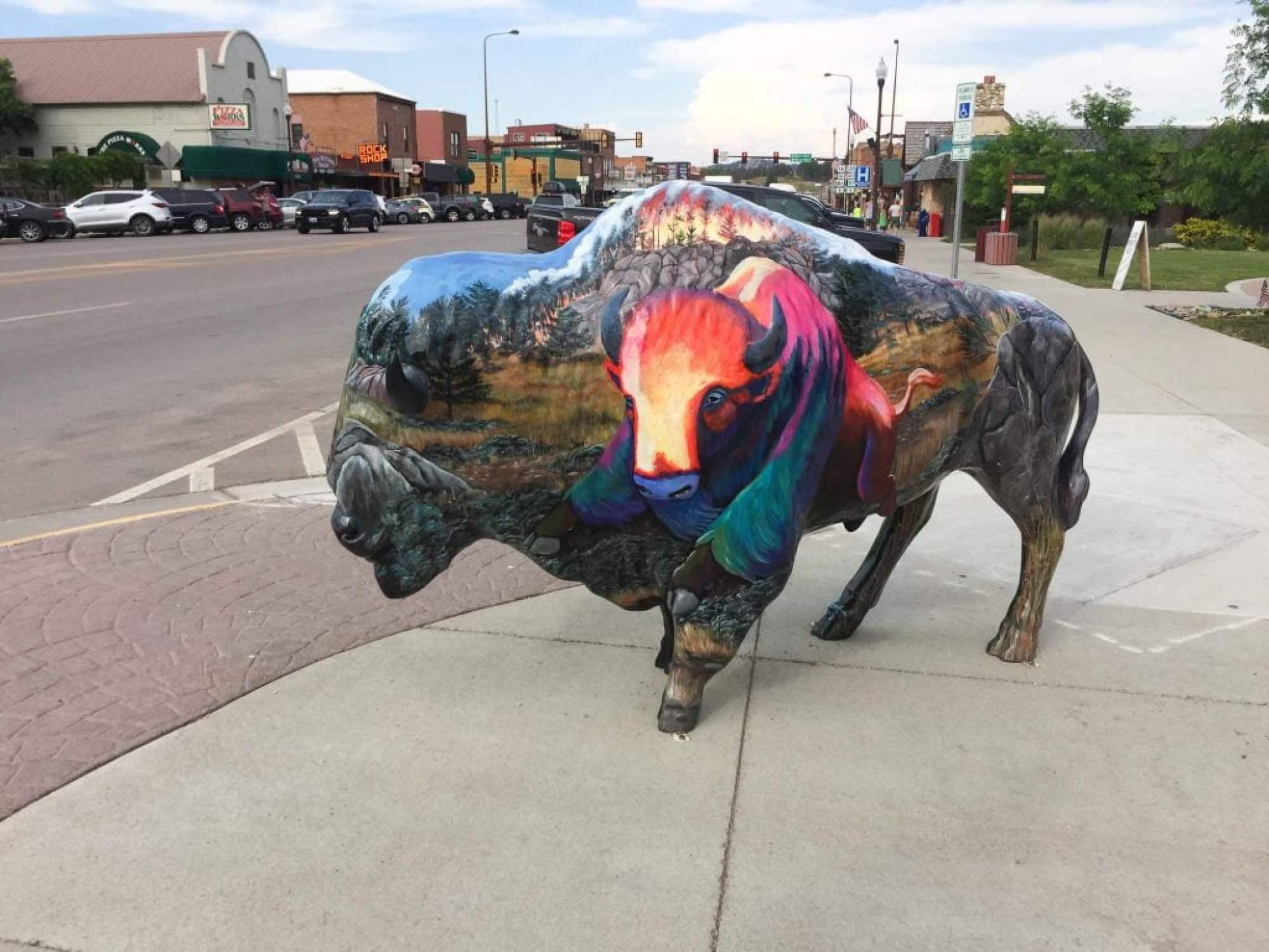 Big Painted Buffalos in Custer South Dakota