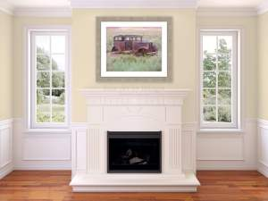 Fine art placed above a fireplace makes a unique statement! The fine art used above this fireplace is from Fine Art by Bridget.