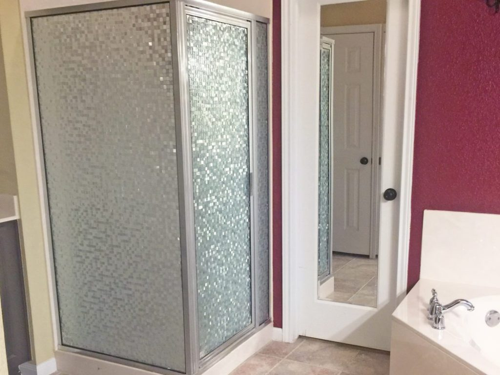Transformation of glass shower after!