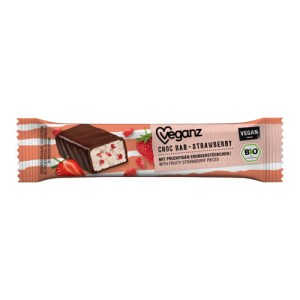 vegansk jordbærchokolade - veganz strawberry choc bar køb