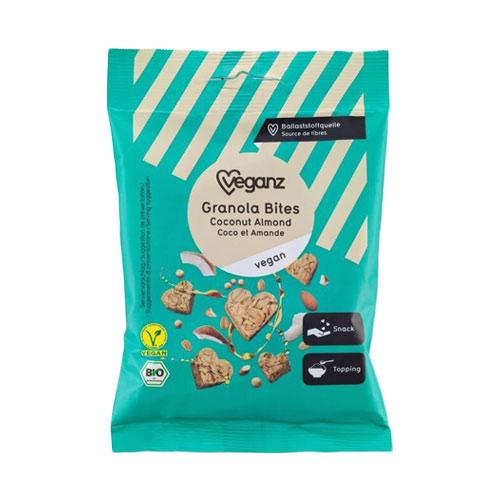 veganske snacks køb online - veganz granola bites almond coconut