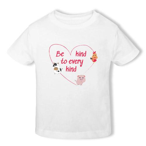 vegansk børnetøj køb online - vegan t-shirt til børn be kind to every kind
