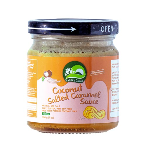 vegansk-karamelsauce-natures-charm - salted caramel sauce