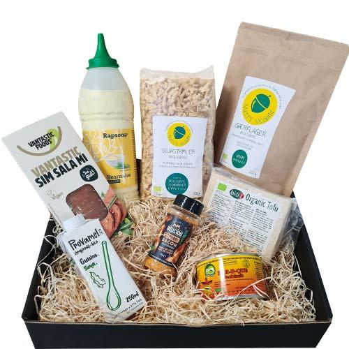 vegansk gavekurv køb - gave til veganer - gavekurv med mad