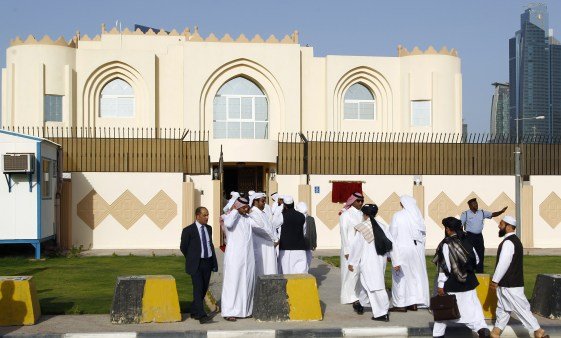 """Guests arrive for the opening ceremony of the new Taliban political office in Doha on June 18, 2013. The office is intended to open dialogue with the international community and Afghan groups for a """"peaceful solution"""" in Afghanistan office spokesman Mohammed Naim told reporters. AFP PHOTO / FAISAL AL-TIMIMI (Photo credit should read FAISAL AL-TIMIMI/AFP/Getty Images)"""