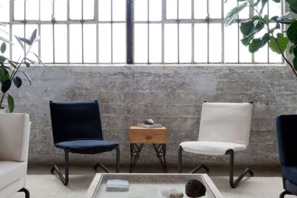 desk chair leather blue bay rum the bowline collection | nuvo