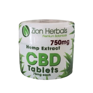 Zion Herbals Hemp Extract CBD Tablets 75mg each THC free