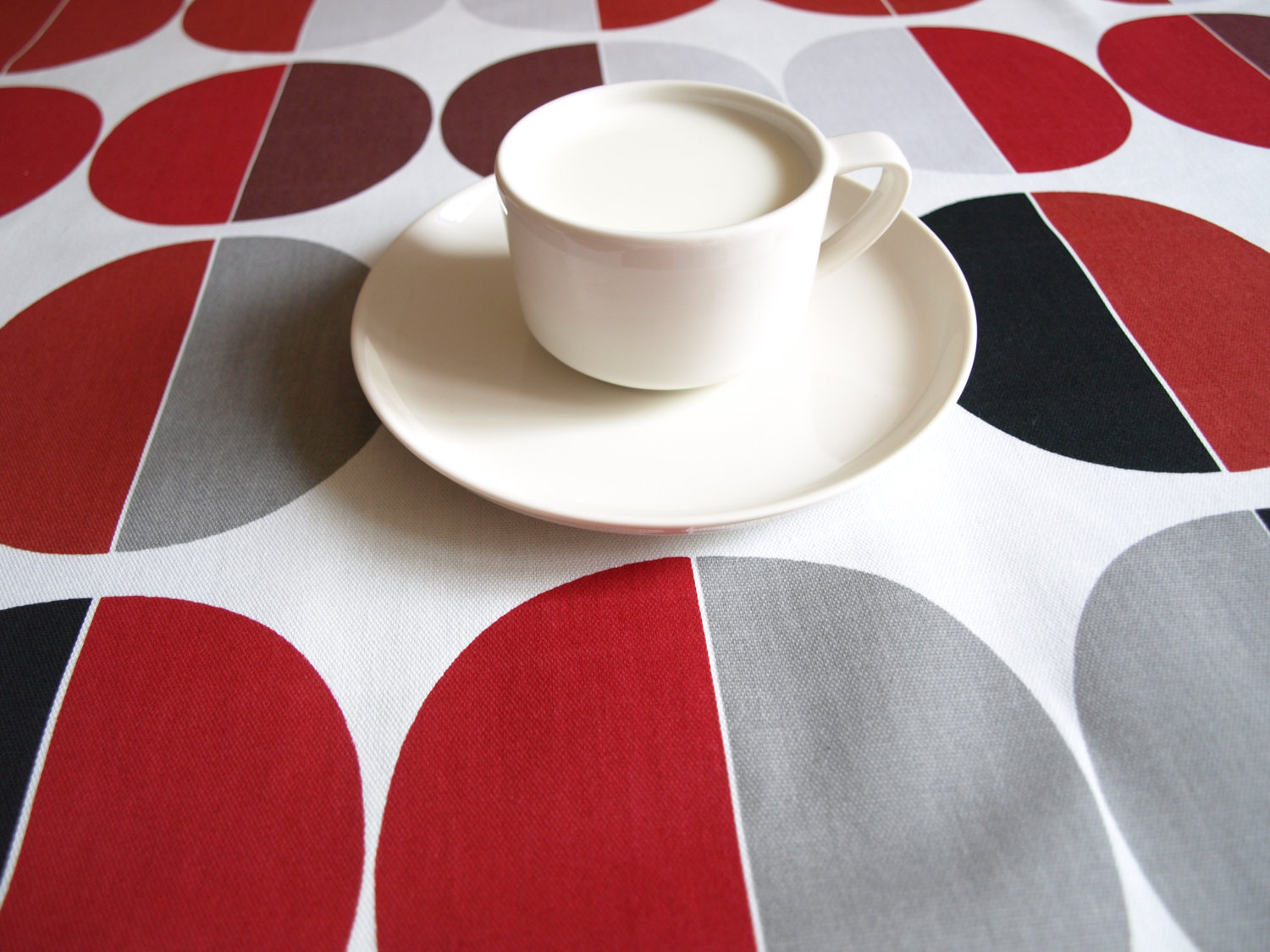 burgundy kitchen curtains sink and faucet combo nuwzz tablecloth white red grey black circles ...