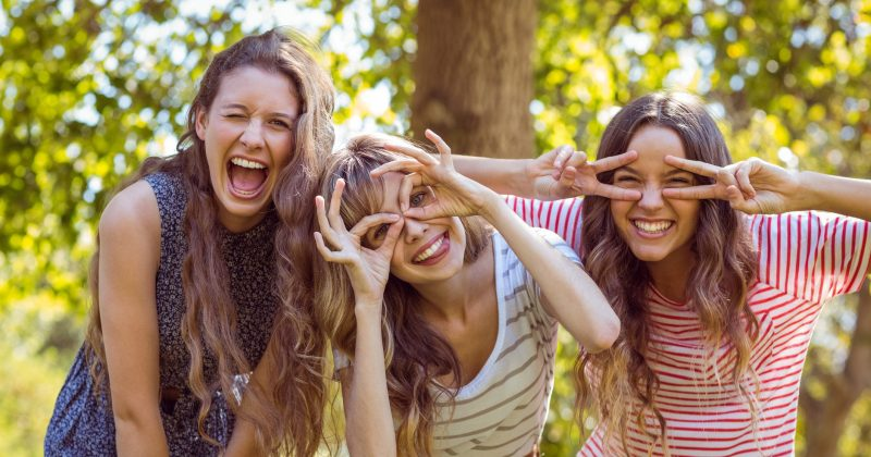3 teenagers making funny faces