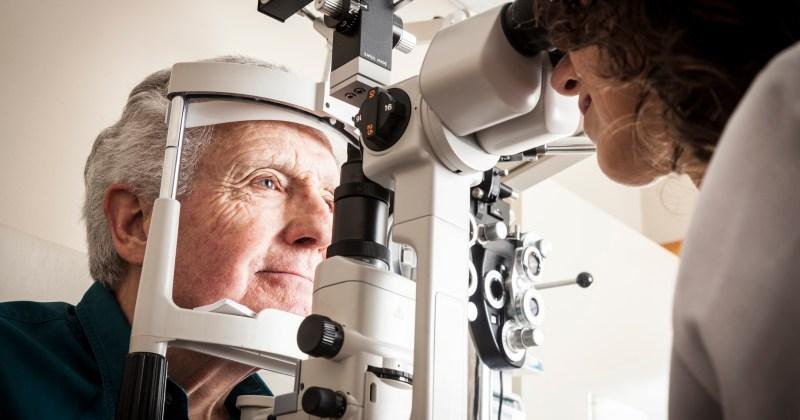 Caucasian Male Receiving an Eye Exam